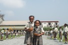 Two young students of SS Peter & Paul School welcoming His Excellency, Antonio Filipazzi, apostolic nuncio in Nigeria