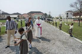 His Excellency, Antonio Filipazzi, apostolic nuncio in Nigeria arriving at SS Peter & Paul School