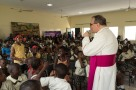 His Excellency, Antonio Filipazzi, apostolic nuncio in Nigeria addressing the students at SS Peter & Paul School