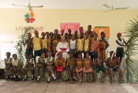 His Excellency, Antonio Filipazzi, apostolic nuncio in Nigeria with SS Peter & Paul School students