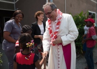 His Excellency, Antonio Filipazzi, apostolic nuncio in Nigeria welcomed at the St Kizito Clinic
