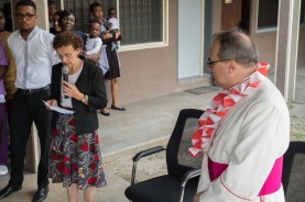 Dr Alda Gemmani, St Kizito Clinic Medical Director, welcoming His Excellency, Antonio Filipazzi, apostolic nuncio in Nigeria