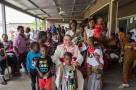 His Excellency, Antonio Filipazzi, apostolic nuncio in Nigeria with the children of St Kizito Clinic nutrition centre