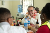 His Excellency, Antonio Filipazzi, apostolic nuncio in Nigeria having lunch with St Kizito Clinic team